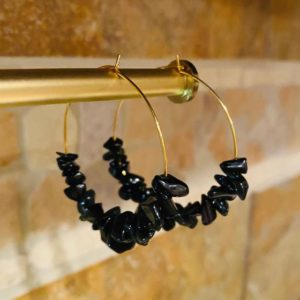 Shop Obsidian Earrings! Obsidian Hoop Earrings | Natural genuine Obsidian earrings. Buy crystal jewelry, handmade handcrafted artisan jewelry for women.  Unique handmade gift ideas. #jewelry #beadedearrings #beadedjewelry #gift #shopping #handmadejewelry #fashion #style #product #earrings #affiliate #ad