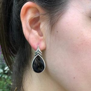 Shop Obsidian Earrings! Obsidian Earrings, Natural Obsidian, Teardrop Earrings, Black Teardrop Earrings, Volcanic Stone, Black Obsidian Earrings, Silver Earrings | Natural genuine Obsidian earrings. Buy crystal jewelry, handmade handcrafted artisan jewelry for women.  Unique handmade gift ideas. #jewelry #beadedearrings #beadedjewelry #gift #shopping #handmadejewelry #fashion #style #product #earrings #affiliate #ad