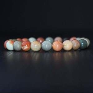 Ocean Jasper Bracelet, Heart Chakra Bracelet, Bracelet For Men, Bracelet For Women, Ocean Jasper Bracelet, Yoga Bracelet, Healing | Natural genuine Ocean Jasper bracelets. Buy handcrafted artisan men's jewelry, gifts for men.  Unique handmade mens fashion accessories. #jewelry #beadedbracelets #beadedjewelry #shopping #gift #handmadejewelry #bracelets #affiliate #ad