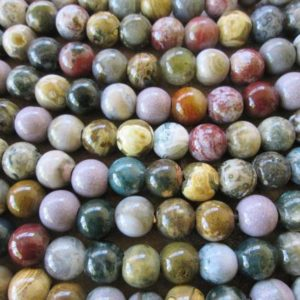 Shop Ocean Jasper Round Beads! 12 MM  Large Hole Bead Ocean Jasper 4mm Hole 9 Round Beads Fit over Leather | Natural genuine round Ocean Jasper beads for beading and jewelry making.  #jewelry #beads #beadedjewelry #diyjewelry #jewelrymaking #beadstore #beading #affiliate #ad