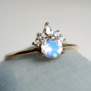 Shop Rainbow Moonstone Rings! Olivia – Rainbow Moonstone & Diamond Crown Cluster Ring | solid 14k Gold Moonstone Ring | Moonstone Dainty Ring | Moonstone Engagement Ring | Natural genuine Rainbow Moonstone rings, simple unique alternative gemstone engagement rings. #rings #jewelry #bridal #wedding #jewelryaccessories #engagementrings #weddingideas #affiliate #ad