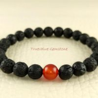 Black Lava And Onyx, Constancy, Permanence, Durability, Self-control, Beaded Bracelet, Healing For Mom & Women, Gift For Men And Women 3950 | Natural genuine Gemstone jewelry. Buy handcrafted artisan men's jewelry, gifts for men.  Unique handmade mens fashion accessories. #jewelry #beadedjewelry #beadedjewelry #shopping #gift #handmadejewelry #jewelry #affiliate #ad