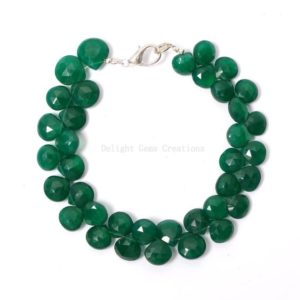 """Shop Onyx Bracelets! natural green onyx beads bracelet, 8x9mm green onyx faceted heart shape bead bracelet, green onyx beaded bracelet, gemstone gift bracelet 8"""" 