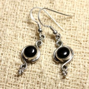 Shop Onyx Earrings! BO211 – Earrings Silver 925 26mm – Onyx Black round 7 mm | Natural genuine Onyx earrings. Buy crystal jewelry, handmade handcrafted artisan jewelry for women.  Unique handmade gift ideas. #jewelry #beadedearrings #beadedjewelry #gift #shopping #handmadejewelry #fashion #style #product #earrings #affiliate #ad