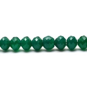 Shop Onyx Faceted Beads! Green Onyx 10mm Micro Faceted Rondelle Beads | Calibrated 10 Beads Strand | Natural Green Onyx Semiprecious Loose Gemstone Beads for Jewelry | Natural genuine faceted Onyx beads for beading and jewelry making.  #jewelry #beads #beadedjewelry #diyjewelry #jewelrymaking #beadstore #beading #affiliate #ad