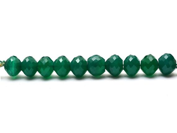 Green Onyx 10mm Micro Faceted Rondelle Beads | Calibrated 10 Beads Strand | Natural Green Onyx Semiprecious Loose Gemstone Beads For Jewelry