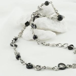 Shop Onyx Jewelry! Black Onyx silver necklace, Black necklace, 925 Necklace, Silver black necklace, Silver and Stones, black onyx, handmade silver swirls decor | Natural genuine Onyx jewelry. Buy crystal jewelry, handmade handcrafted artisan jewelry for women.  Unique handmade gift ideas. #jewelry #beadedjewelry #beadedjewelry #gift #shopping #handmadejewelry #fashion #style #product #jewelry #affiliate #ad