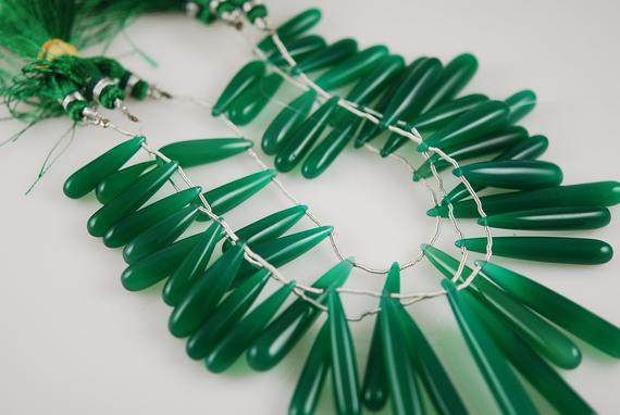 1/2 Strand Huge Scrumptious Green Onyx Smooth Drops Sale 10.00