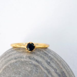 Shop Onyx Rings! 3mm BLACK ONYX gold ring. HEXAGON ring gold vermeil dainty ring geometric stacking ring black gem hexagon ring | Natural genuine Onyx rings, simple unique handcrafted gemstone rings. #rings #jewelry #shopping #gift #handmade #fashion #style #affiliate #ad