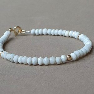 Blue opal bracelet, throat chakra, gift for her, blue opal jewelry, baby blue bracelet | Natural genuine Gemstone bracelets. Buy crystal jewelry, handmade handcrafted artisan jewelry for women.  Unique handmade gift ideas. #jewelry #beadedbracelets #beadedjewelry #gift #shopping #handmadejewelry #fashion #style #product #bracelets #affiliate #ad