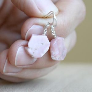 Pink Opal Earrings Dangle . October Birthstone Earrings Sterling Silver . Polished Raw Crystal Dangle Earrings   Natural genuine Gemstone earrings. Buy crystal jewelry, handmade handcrafted artisan jewelry for women.  Unique handmade gift ideas. #jewelry #beadedearrings #beadedjewelry #gift #shopping #handmadejewelry #fashion #style #product #earrings #affiliate #ad
