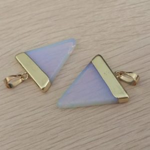 Shop Opal Pendants! Triangle Opal pendant White opal pendant Triangle gemstone Pendant Charms Gold Plated stone necklace making supplies 1 pc | Natural genuine Opal pendants. Buy crystal jewelry, handmade handcrafted artisan jewelry for women.  Unique handmade gift ideas. #jewelry #beadedpendants #beadedjewelry #gift #shopping #handmadejewelry #fashion #style #product #pendants #affiliate #ad