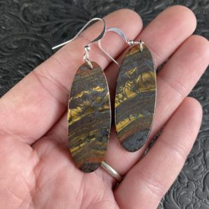 Shop Tiger Iron Earrings! Oval Australian Tiger Eye Stone Jewelry Earrings | Natural genuine Tiger Iron earrings. Buy crystal jewelry, handmade handcrafted artisan jewelry for women.  Unique handmade gift ideas. #jewelry #beadedearrings #beadedjewelry #gift #shopping #handmadejewelry #fashion #style #product #earrings #affiliate #ad