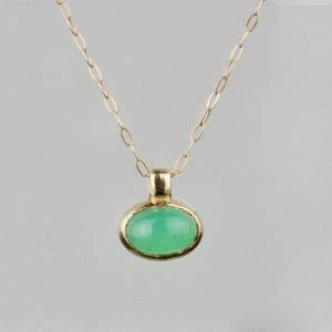 "Shop Chrysoprase Jewelry! Oval Chrysoprase Necklace | Oval Chrysoprase Pendant | Solid Gold Chrysoprase Necklace | Natural Chrysoprase | 16"" Chain 