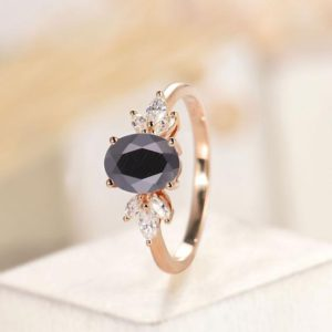 Oval cut Black Onyx engagement ring,Vintage rose gold ring unique wedding ring, art deco moissanite ring, marquise cut ring,anniversary gift | Natural genuine Array rings, simple unique alternative gemstone engagement rings. #rings #jewelry #bridal #wedding #jewelryaccessories #engagementrings #weddingideas #affiliate #ad