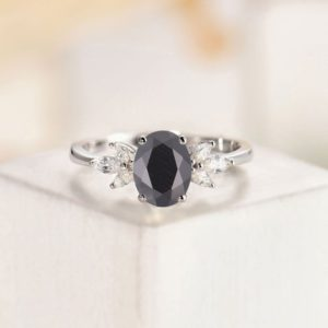 Oval cut Black Onyx engagement ring,Vintage white gold ring unique wedding ring,Art deco moissanite ring, marquise cut ring,anniversary gift | Natural genuine Array rings, simple unique alternative gemstone engagement rings. #rings #jewelry #bridal #wedding #jewelryaccessories #engagementrings #weddingideas #affiliate #ad