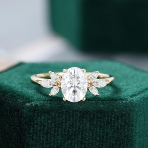 Oval cut white sapphire engagement ring vintage Unique Marquise cut diamond Cluster ring Yellow gold engagement ring women Bridal gift | Natural genuine Gemstone rings, simple unique alternative gemstone engagement rings. #rings #jewelry #bridal #wedding #jewelryaccessories #engagementrings #weddingideas #affiliate #ad
