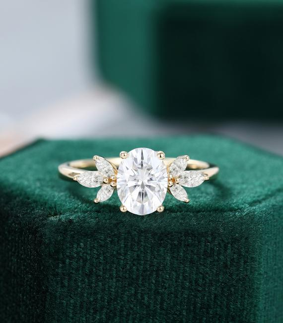 Oval Cut White Sapphire Engagement Ring Vintage Unique Marquise Cut Diamond Cluster Moissanite Yellow Gold Engagement Ring Women Bridal Gift