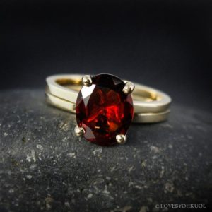 Shop Garnet Rings! Oval Red Garnet Engagement Ring – Wedding Set | Natural genuine Garnet rings, simple unique alternative gemstone engagement rings. #rings #jewelry #bridal #wedding #jewelryaccessories #engagementrings #weddingideas #affiliate #ad