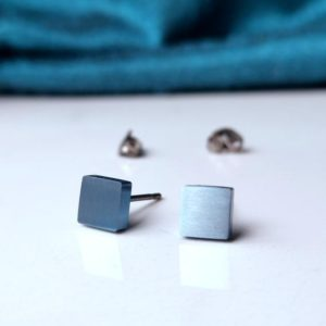 Pale Blue Titanium Earrings 5mm Square Studs. Hypoallergenic and Nickel Free. | Natural genuine Gemstone earrings. Buy crystal jewelry, handmade handcrafted artisan jewelry for women.  Unique handmade gift ideas. #jewelry #beadedearrings #beadedjewelry #gift #shopping #handmadejewelry #fashion #style #product #earrings #affiliate #ad