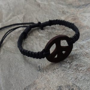 Shop Hemp Jewelry! Peace Bracelet – Black Hemp Bracelet – Wooden Peace Sign Bracelet – Black Braided Bracelet – Peace Symbol Bracelet – Brown Peace Sign | Shop jewelry making and beading supplies, tools & findings for DIY jewelry making and crafts. #jewelrymaking #diyjewelry #jewelrycrafts #jewelrysupplies #beading #affiliate #ad