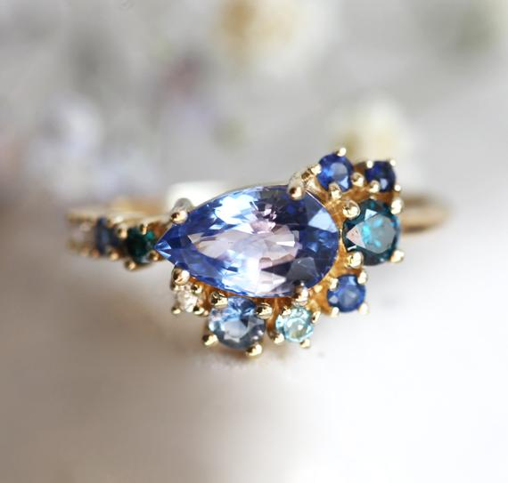Pear Blue Sapphire Engagement Ring, Pear Sapphire Cluster Engagement Ring, Blue Sapphire Ring, Unique Multistone Engagement Ring