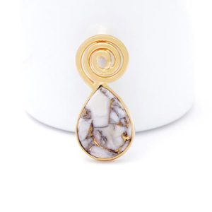 Shop Magnesite Pendants! Pear Crackle White Gold Magnesite Spiral Pendant-Earthy Gemstone Jewelry-White Cabochon Wire Wrapped Pendant-Healing Gold Platted Pendant | Natural genuine Magnesite pendants. Buy crystal jewelry, handmade handcrafted artisan jewelry for women.  Unique handmade gift ideas. #jewelry #beadedpendants #beadedjewelry #gift #shopping #handmadejewelry #fashion #style #product #pendants #affiliate #ad