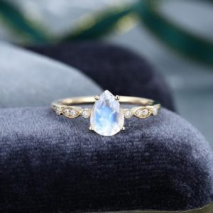 Pear shaped Moonstone engagement ring vintage Unique yellow  gold engagement ring for women Antique Diamond ring Promise Anniversary Gift | Natural genuine Gemstone rings, simple unique alternative gemstone engagement rings. #rings #jewelry #bridal #wedding #jewelryaccessories #engagementrings #weddingideas #affiliate #ad