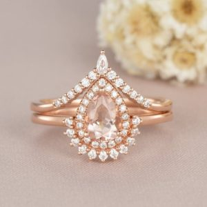Pear Shaped Morganite Engagement Ring Set Rose Gold Bridal Set Art Deco Curved Wedding Ring Woman Antique Gift For Her 5*7mm custom Promise | Natural genuine Array rings, simple unique alternative gemstone engagement rings. #rings #jewelry #bridal #wedding #jewelryaccessories #engagementrings #weddingideas #affiliate #ad