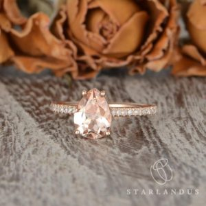 Pear Shaped Morganite Engagement Ring Solitaire Ring Tear Drop Rose Gold Engagement Ring For Women Simple Peachy Morganite Gift Custom | Natural genuine Array rings, simple unique alternative gemstone engagement rings. #rings #jewelry #bridal #wedding #jewelryaccessories #engagementrings #weddingideas #affiliate #ad