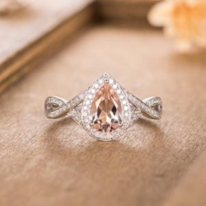 Pear Shaped Morganite Engagement Ring White Gold Halo Diamond Infinity Band Bridal Women Ring Unique Antique Wedding Ring Anniversary Ring | Natural genuine Array rings, simple unique alternative gemstone engagement rings. #rings #jewelry #bridal #wedding #jewelryaccessories #engagementrings #weddingideas #affiliate #ad