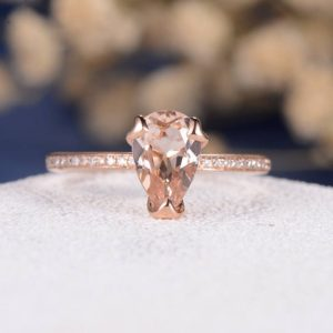 Pear Shaped Morganite Engagement Ring Rose Gold Ring Solitaire Ring Diamond Half Eternity Wedding Ring Heart Prongs Minimalist Anniversary | Natural genuine Array rings, simple unique alternative gemstone engagement rings. #rings #jewelry #bridal #wedding #jewelryaccessories #engagementrings #weddingideas #affiliate #ad