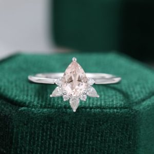 Pear shaped Morganite engagement ring White gold unique engagement ring vintage Cluster diamond/Moissanite Promise Anniversary gift | Natural genuine Array rings, simple unique alternative gemstone engagement rings. #rings #jewelry #bridal #wedding #jewelryaccessories #engagementrings #weddingideas #affiliate #ad