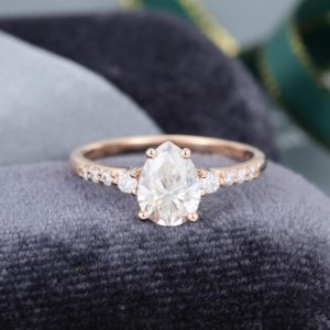 Pear shaped White sapphire engagement ring vintage Rose Gold engagement ring for women Half eternity Diamond ring Bridal Anniversary gift | Natural genuine Array rings, simple unique alternative gemstone engagement rings. #rings #jewelry #bridal #wedding #jewelryaccessories #engagementrings #weddingideas #affiliate #ad