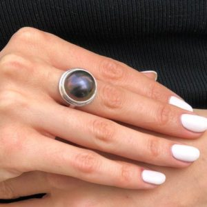 Shop Pearl Rings! Black Mabe Pearl Ring, Natural Pearl, Large Pearl Ring, June Birthstone, Statement Ring, Chunky Pearl Ring, Vintage Ring, Solid Silver Ring | Natural genuine Pearl rings, simple unique handcrafted gemstone rings. #rings #jewelry #shopping #gift #handmade #fashion #style #affiliate #ad
