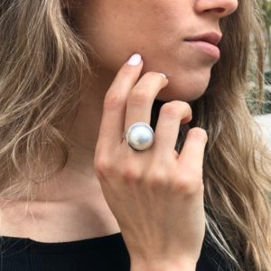 Shop Pearl Rings! Mabe Pearl Ring, Natural Mabe Pearl, Chunky Pearl Ring, June Birthstone, Large Pearl Ring, White Pearl Ring, Vintage Ring, Solid Silver Ring | Natural genuine Pearl rings, simple unique handcrafted gemstone rings. #rings #jewelry #shopping #gift #handmade #fashion #style #affiliate #ad