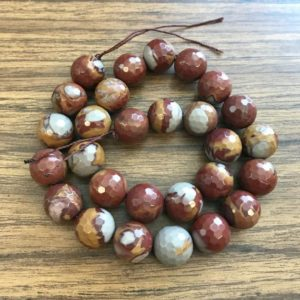 Shop Picture Jasper Faceted Beads! Natural Red Picture Jasper 4mm 6mm 14mm 16mm 18mm 20mm Faceted Round Gemstone Beads -15.5 inch strand | Natural genuine faceted Picture Jasper beads for beading and jewelry making.  #jewelry #beads #beadedjewelry #diyjewelry #jewelrymaking #beadstore #beading #affiliate #ad