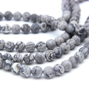 Shop Picture Jasper Beads! Matte Gray Picture Jasper Beads 6mm 8mm 10 12mm Gray Map Jasper Beads Scenery Jasper Beads Natural Gray Beads Gray Mala Beads Gray Gemstones | Natural genuine beads Picture Jasper beads for beading and jewelry making.  #jewelry #beads #beadedjewelry #diyjewelry #jewelrymaking #beadstore #beading #affiliate #ad