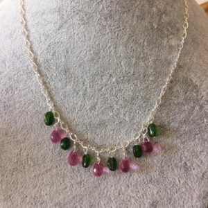 Shop Diopside Necklaces! Pink briolette and green chrome diopside necklace | Natural genuine Diopside necklaces. Buy crystal jewelry, handmade handcrafted artisan jewelry for women.  Unique handmade gift ideas. #jewelry #beadednecklaces #beadedjewelry #gift #shopping #handmadejewelry #fashion #style #product #necklaces #affiliate #ad