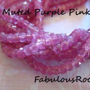 Shop Pink Sapphire Beads! 10-100 pcs / Pink SAPPHIRE Rondelles Gemstone Bead, Luxe AAA / 4-4.5 mm, Muted Purple Pink, September Birthstone Gemw tr s   Natural genuine rondelle Pink Sapphire beads for beading and jewelry making.  #jewelry #beads #beadedjewelry #diyjewelry #jewelrymaking #beadstore #beading #affiliate #ad
