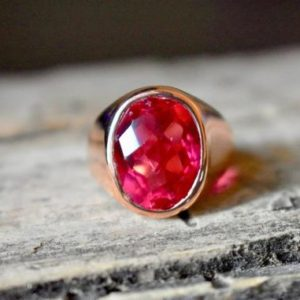 Shop Men's Gemstone Rings! Natural Pink Tourmaline ring, 22K Gold fill, Tourmaline Gemstone ring, 925 sterling silver, man ring, women ring, silver ring, Gift Ring   Natural genuine Agate rings, simple unique handcrafted gemstone rings. #rings #jewelry #shopping #gift #handmade #fashion #style #affiliate #ad