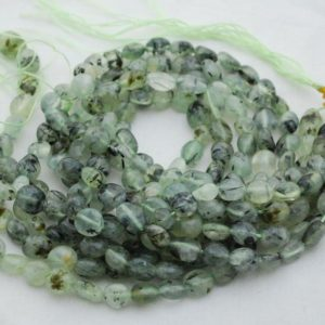 """Shop Prehnite Chip & Nugget Beads! High Quality Grade A Natural Prehnite Semi-precious Gemstone Pebble Tumbled stone Nugget Beads approx 7mm-10mm – 15"""" strand 