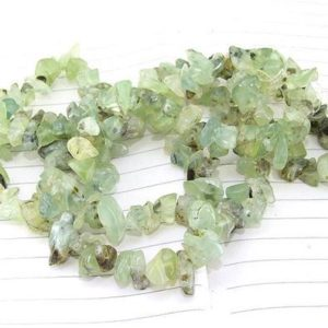 """Shop Prehnite Chip & Nugget Beads! Long Full Strand Natural Nugget  prehnite Beads —– 7mmx10mm —– about 200Pieces —– gemstone beads— 34"""" in length 