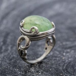 Shop Prehnite Rings! Prehnite Ring, Natural Prehnite, Statement Ring, Green Artistic Ring, May Birthstone, Vintage Ring, May Ring, Sterling Silver Ring, Prehnite | Natural genuine Prehnite rings, simple unique handcrafted gemstone rings. #rings #jewelry #shopping #gift #handmade #fashion #style #affiliate #ad