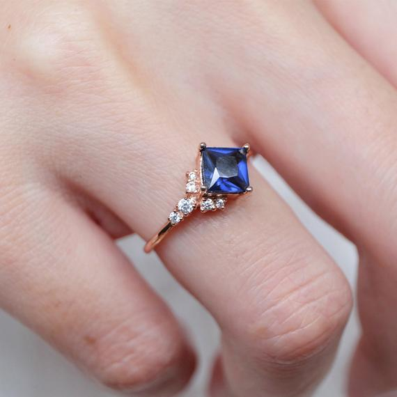 Princess Cut Engagement Ring, Natural Sapphire Ring, Antique Vintage Ring, Art Deco Ring, Sapphire Wedding Ring,anniversary Gifts For Women