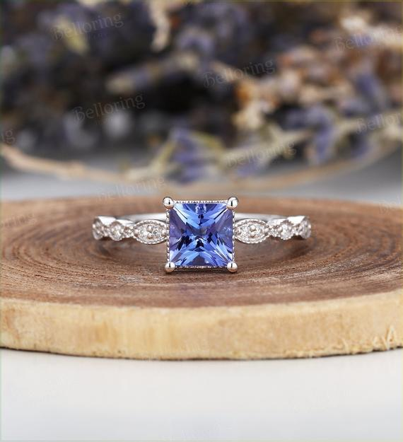 Princess Cut Tanzanite Engagement Ring White Gold Vintage  Art Deco Diamond Wedding  Unique Bridal Set Anniversary Promise Wedding Ring