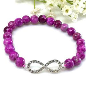 Shop Sugilite Bracelets! Purple Sugilite Beaded Bracelet with infinity pendant, Healing anxiety relief spiritual balancing calming stretchy gift for women | Natural genuine Sugilite bracelets. Buy crystal jewelry, handmade handcrafted artisan jewelry for women.  Unique handmade gift ideas. #jewelry #beadedbracelets #beadedjewelry #gift #shopping #handmadejewelry #fashion #style #product #bracelets #affiliate #ad