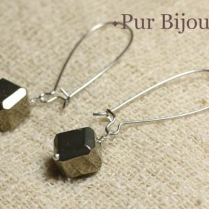 Shop Pyrite Earrings! Pair of earrings semi precious – gold Pyrite Cubes 10 mm | Natural genuine Pyrite earrings. Buy crystal jewelry, handmade handcrafted artisan jewelry for women.  Unique handmade gift ideas. #jewelry #beadedearrings #beadedjewelry #gift #shopping #handmadejewelry #fashion #style #product #earrings #affiliate #ad