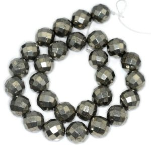 Shop Pyrite Faceted Beads! 12mm Palazzo Iron Pyrite Gemstone Wide Faceted Round 12mm Loose Beads 15.5 inch Full Strand LOT 1,2,6,12 and 20 (90145790-403) | Natural genuine faceted Pyrite beads for beading and jewelry making.  #jewelry #beads #beadedjewelry #diyjewelry #jewelrymaking #beadstore #beading #affiliate #ad