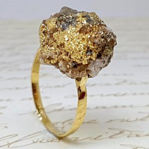 Shop Pyrite Jewelry! Pyrite Gold Ring, Raw Pyrite Ring, Raw Crystal Ring, Fools Gold Jewelry, Raw Stone Ring, Healing Pyrite Ring, Gemstone Ring, Healers Ring | Natural genuine Pyrite jewelry. Buy crystal jewelry, handmade handcrafted artisan jewelry for women.  Unique handmade gift ideas. #jewelry #beadedjewelry #beadedjewelry #gift #shopping #handmadejewelry #fashion #style #product #jewelry #affiliate #ad
